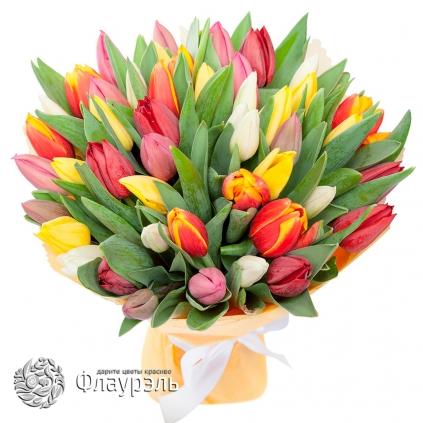 Монобукет из 49 тюльпанов МИКС